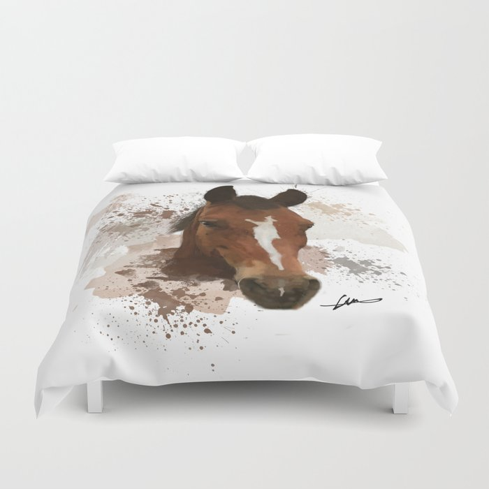 Brown and White Horse Watercolor Duvet Cover