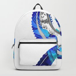 White And Blue Abstract Art - Swirling 4 - Sharon Cummings Backpack
