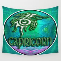 astrology Wall Tapestries featuring Capricorn Zodiac Sign Astrology by CAP Artwork & Design