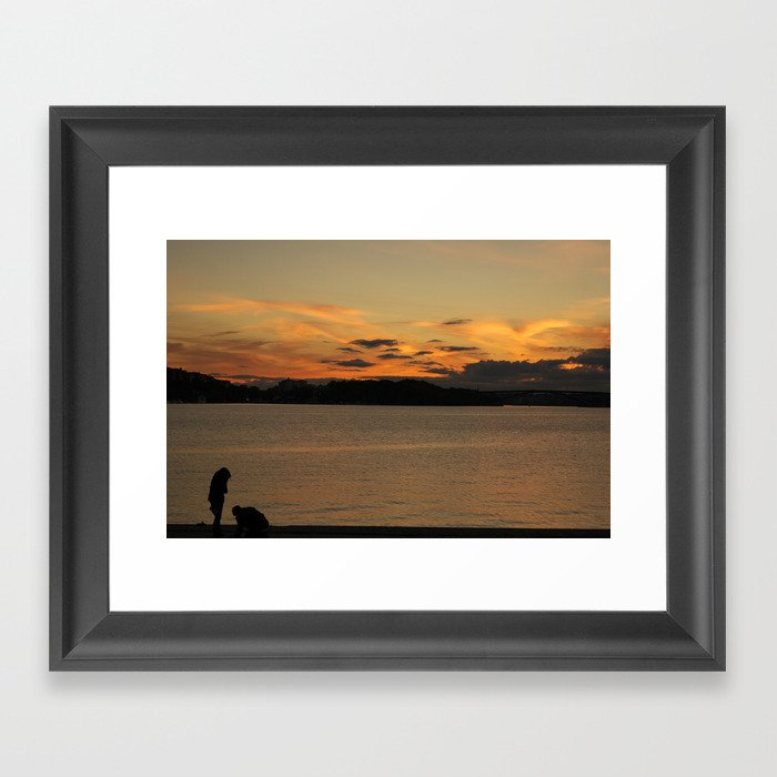 Sunset in love Framed Art Print