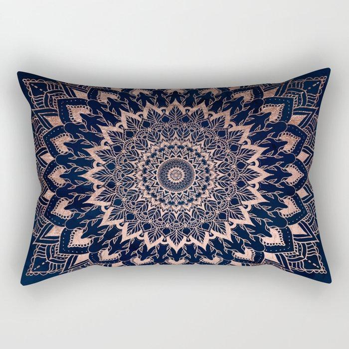 Boho rose gold floral mandala on navy blue watercolor Rectangular Pillow
