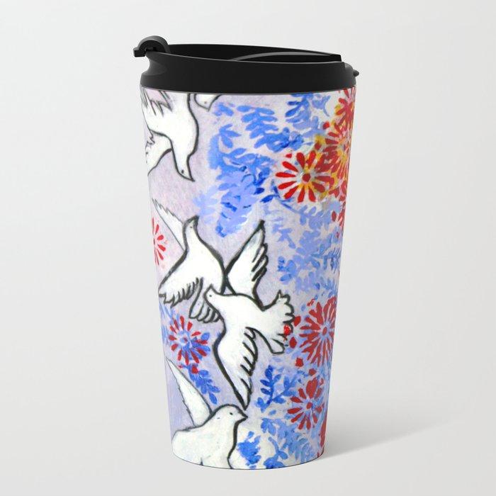 Floral Doves  #society6 #decor #buyart Metal Travel Mug