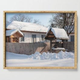 Sunny day at a beautiful heritage Romanian house covered in heavy snow Serving Tray