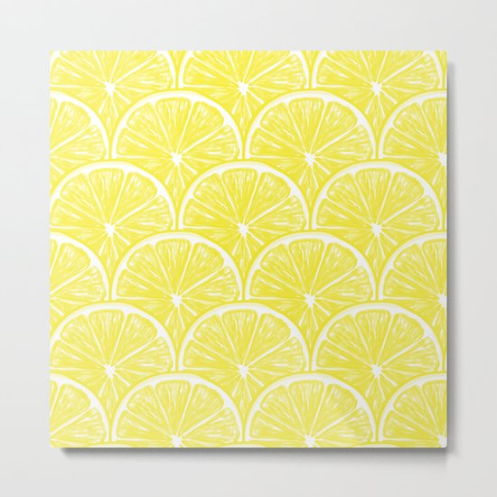 Lemon slices pattern design II Metal Print