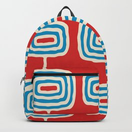 Mid Century Modern Atomic Rings Pattern 260 Cyan Red and Beige Backpack