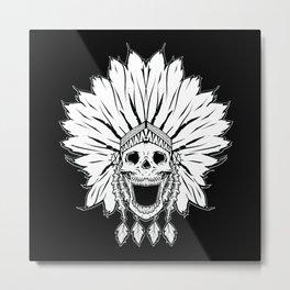 Shaman skull black & white Metal Print
