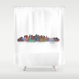 Boston City Skyline Hq V2 Massachusetts Shower Curtain