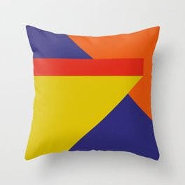 Random colored parallelepipeds flying in a cool blue space Throw Pillow
