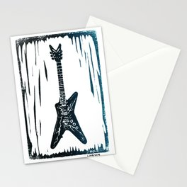 Dimebag Darrell's (PANTERA) Dean ML Lightning Guitar Linocut Print Stationery Cards