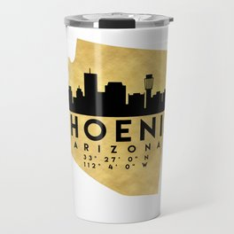 PHOENIX ARIZONA SILHOUETTE SKYLINE MAP ART Travel Mug