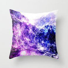 galaxy mountains Throw Pillow