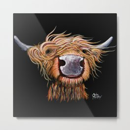 Scottish Highland Cow ' DASHING DOUGAL ' by Shirley MacArthur Metal Print
