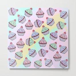 Cute Colorful Rainbow Foodie Cherry Cupcakes Metal Print