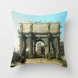 Canaletto Italian View of the Arch of Constantine with the Colosseum Throw Pillow