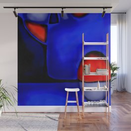 Abstraction in Lapis and Red Wall Mural