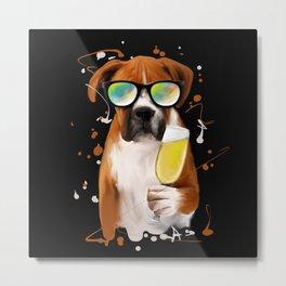 German Boxer Funny Dog Gifts Love Metal Print