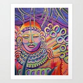 Colorful Zen Buddha meditating Art Print