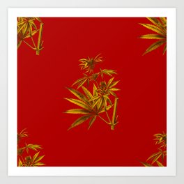 Red Gold Cannabis Sativa Vintage Botanical Illustration Art Print