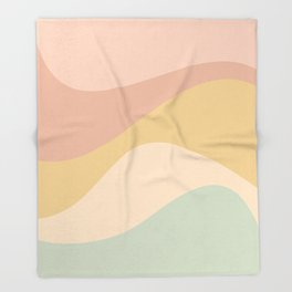 Abstract Color Waves - Neutral Pastel Throw Blanket