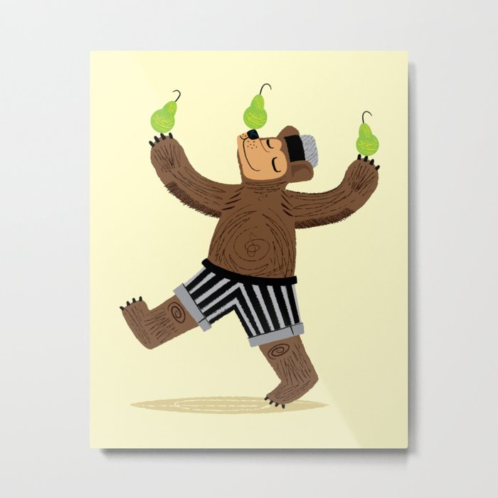 A Bear With Pears Metal Print