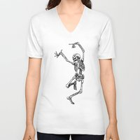 tupac V-neck T-shirts featuring Dancer Skeleton by Hottest Dog In Town