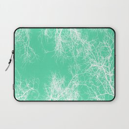 White silhouetted trees on green Laptop Sleeve
