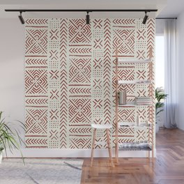 Line Mud Cloth // Ivory & Burgundy Wall Mural