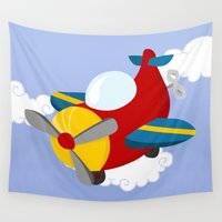 plane Wall Tapestries featuring plane by Alapapaju