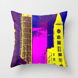 Retro Color Street View Throw Pillow