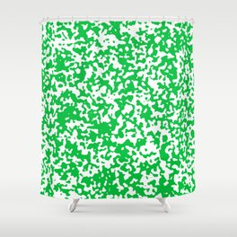 Small Spots - White and Dark Pastel Green Shower Curtain