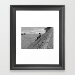 Woman Reading on Hill in France - Black and White Framed Art Print