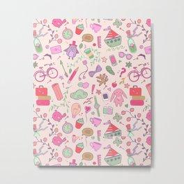 Cute Patt Pink Metal Print