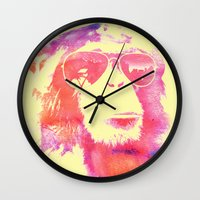 chill Wall Clocks featuring Chill by orangpalsu