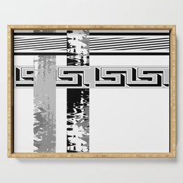 Creative Black and white pattern . The braided belts . ( men's , unisex) Serving Tray
