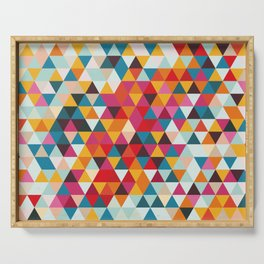 Vintage Summer Color Palette - Hipster Geometric Triangle Pattern Serving Tray