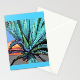 BLUE MODERN ART AQUA DESERT AGAVE CACTUS Stationery Cards