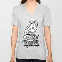 Hedwig On Books Unisex V-Neck