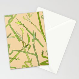 Scattered Bamboos on Beige Stationery Cards