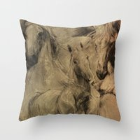 horses Throw Pillows featuring Horses by MikakoskArts