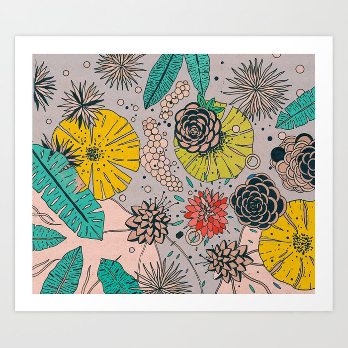 Olga loves flowers Art Print