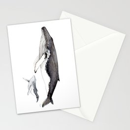 North Atlantic Humpback whale with calf Stationery Cards