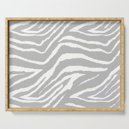 ZEBRA GRAY AND WHITE ANIMAL PRINT Serving Tray