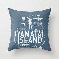 tomb raider Throw Pillows featuring Welcome To Yamatai Island - Tomb Raider by s2lart