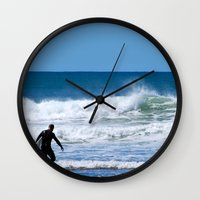 surfer Wall Clocks featuring Surfer by JohnJohn22