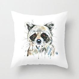 Peekaboo Raccoon Throw Pillow