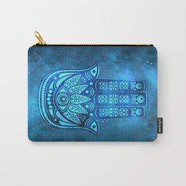 Hamsa Hand Magic Eye Blue Watercolor Art Carry-All Pouch