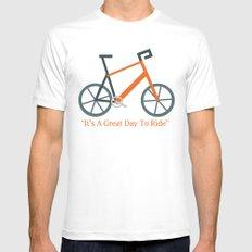Orange Bike Mens Fitted Tee White MEDIUM