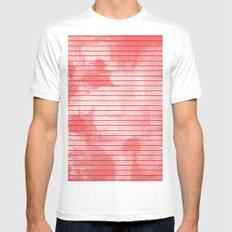 Seeing Red - Textured, geometric red White Mens Fitted Tee MEDIUM
