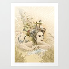 Animal princess Art Print