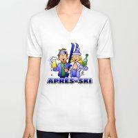 ski V-neck T-shirts featuring Après-ski by Cardvibes.com - Tekenaartje.nl
